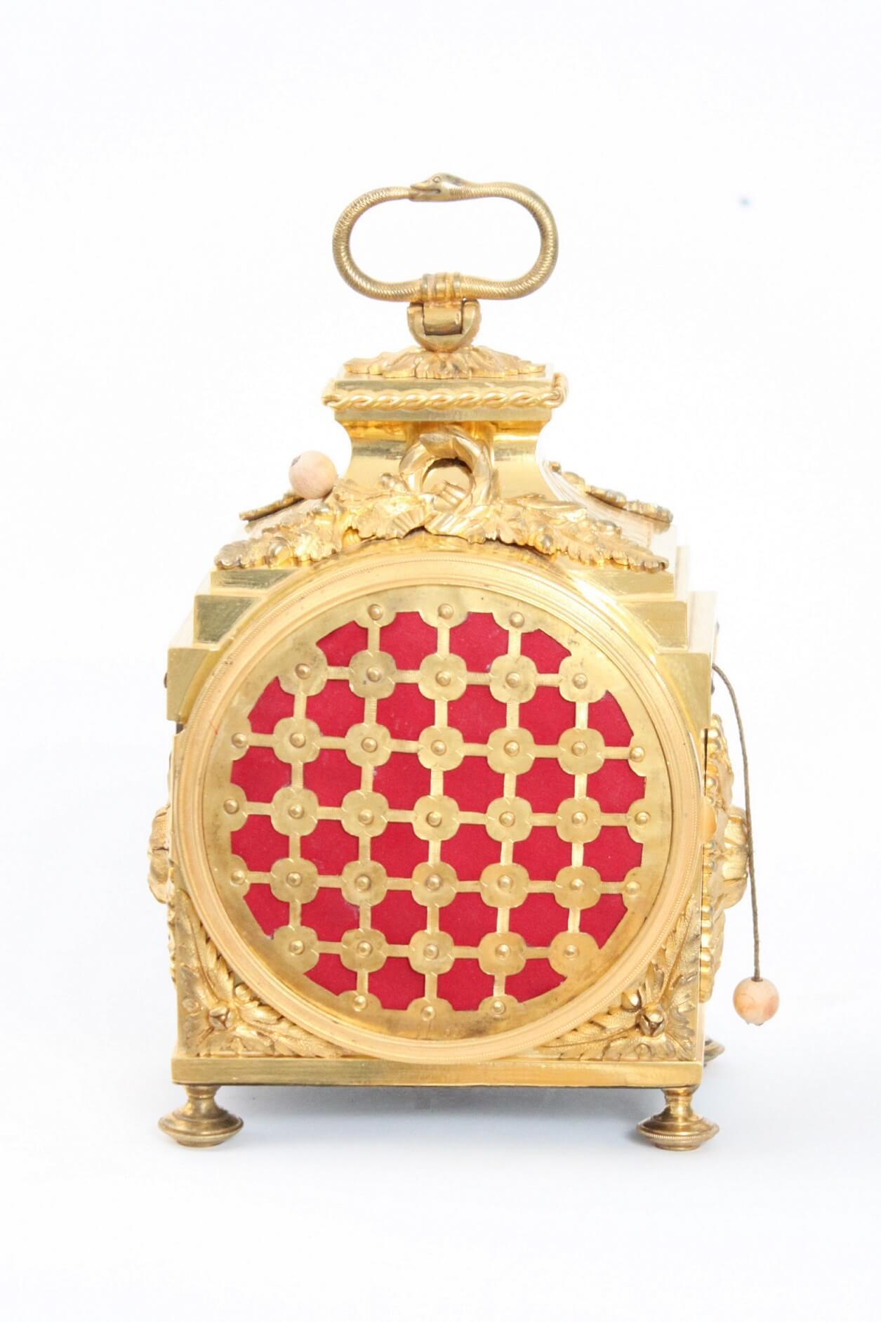 Swiss-French-ormolu-gilt-bronze-Louis XVI-pendule-officier-travel-antique-clock-Robert-Courvoisier-