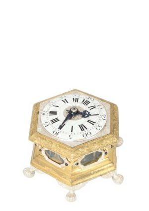 German-miniature-hexagonal-horizontal-gilt-silvered-striking-alarm-antique-table-clock-Maijr-