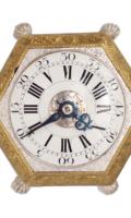 German-miniature-hexagonal-horizontal-gilt-silvered-striking-alarm-antique-table-clock-Maijr-