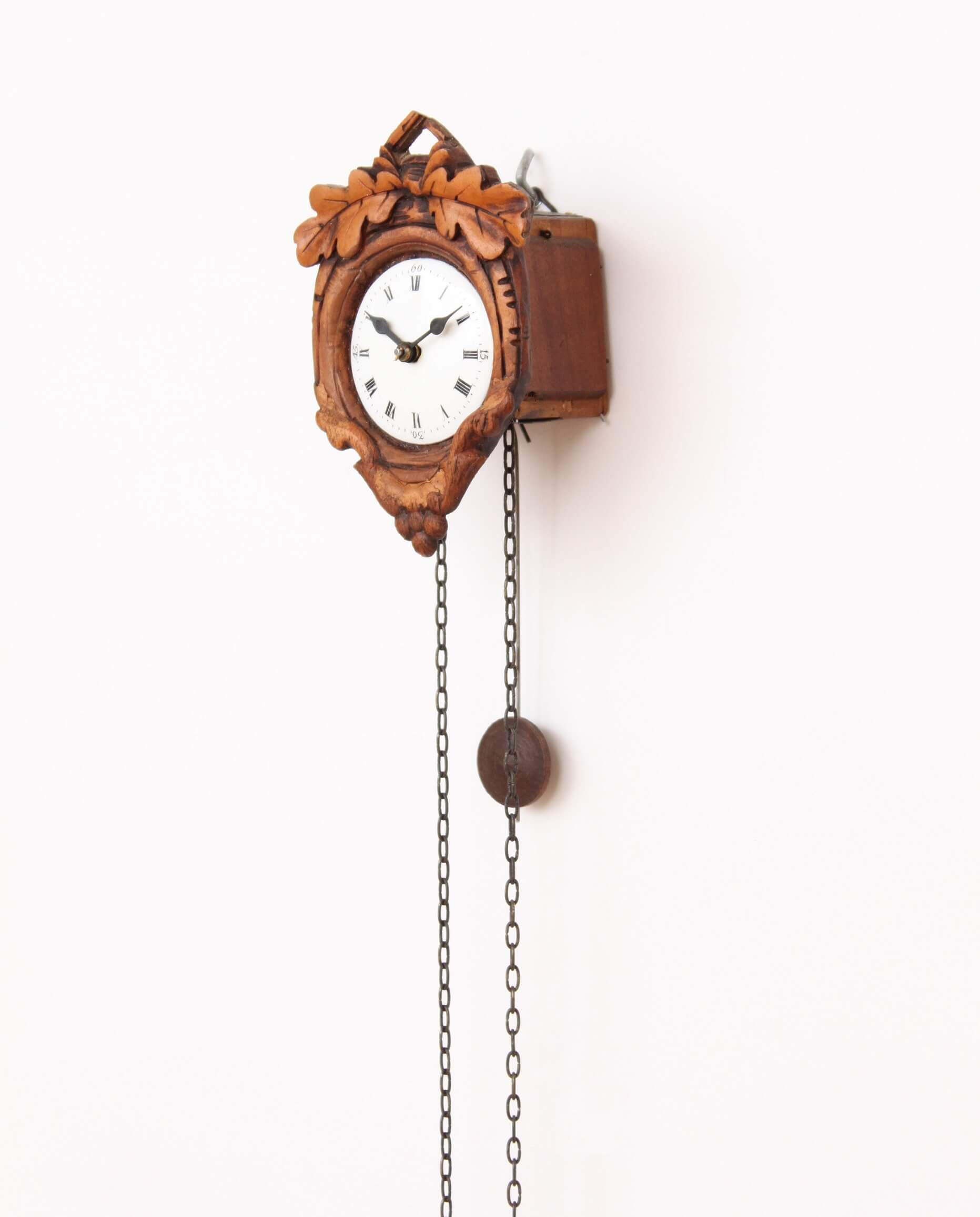 miniature-German-Black Forest-Schwarzwald-carved-stained-small-hausle-sorg-sorguhr-antique-wall-clock-