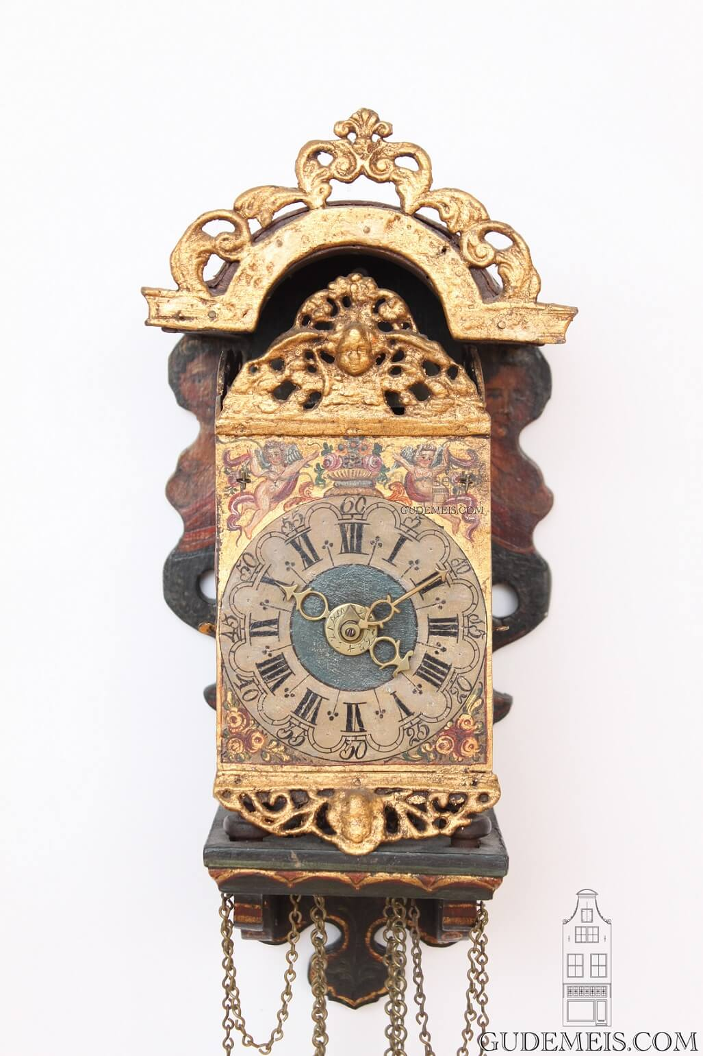 miniature-small-Dutch-Frisian-polychrome-iron-brass- striking-alarm-stoelschippertje-provincial-antique-wall-clock