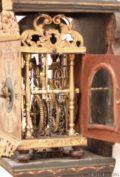 Miniature-small-Dutch-Frisian-polychrome-iron-brass- Striking-alarm-stoelschippertje-provincial-antique-wall-clock