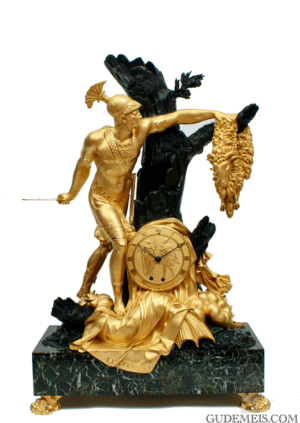 French-Empire-ormolu-patinated-gilt-bronze-Jason-golden-fleece-mantel-clock-Feuchere-antique-clock-