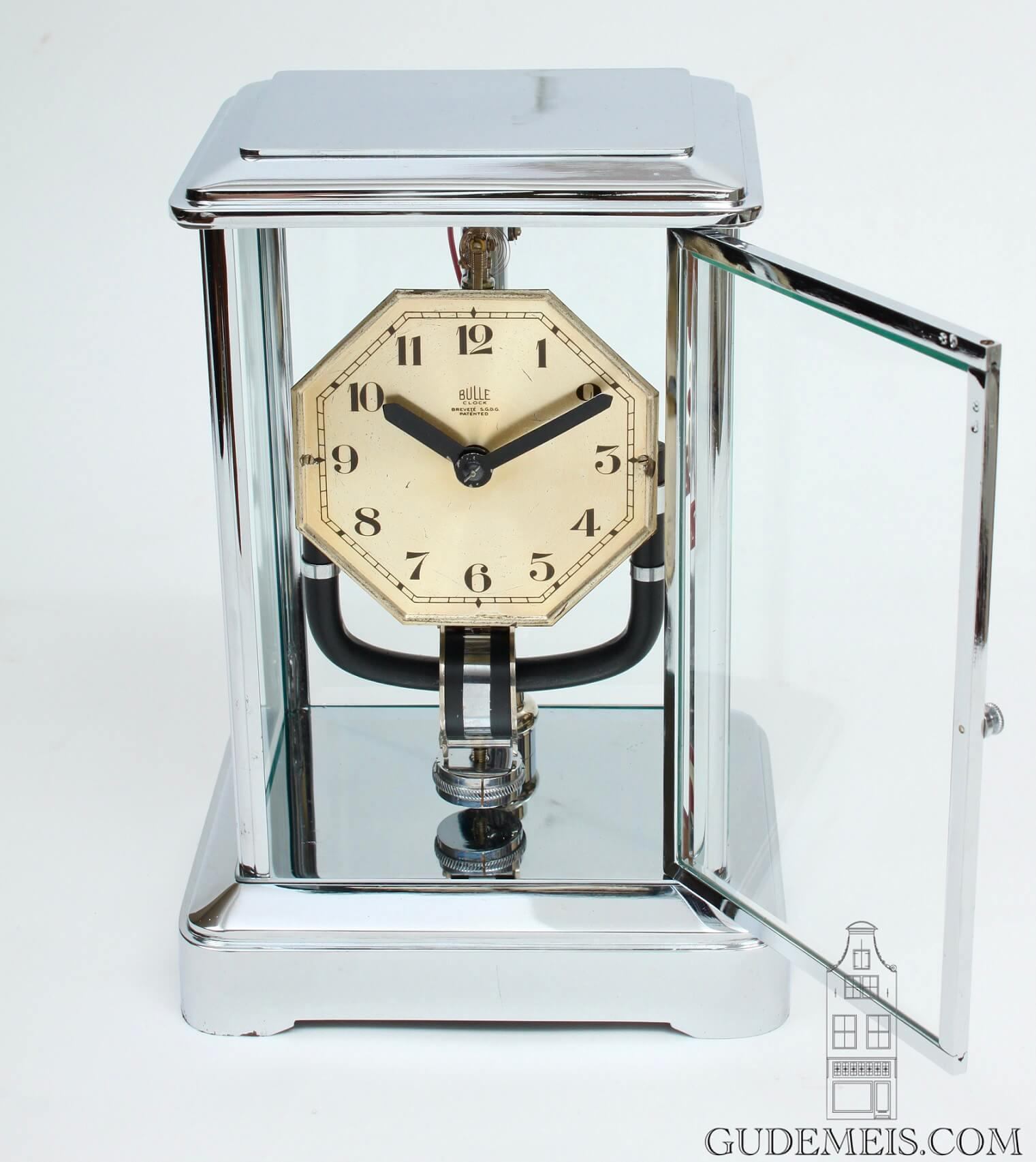 French-chrome-art-deco-electric-bulle-clock-antique-table-clock-