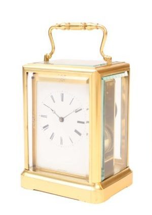 French-one-piece-brass-antique-carriage-travel-clock-jules-paris-escapement-