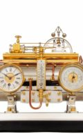 French-silvered-gilt-bronze-sculptural-industrial-guilmet-animated-automaton-mantel-antique-clock-