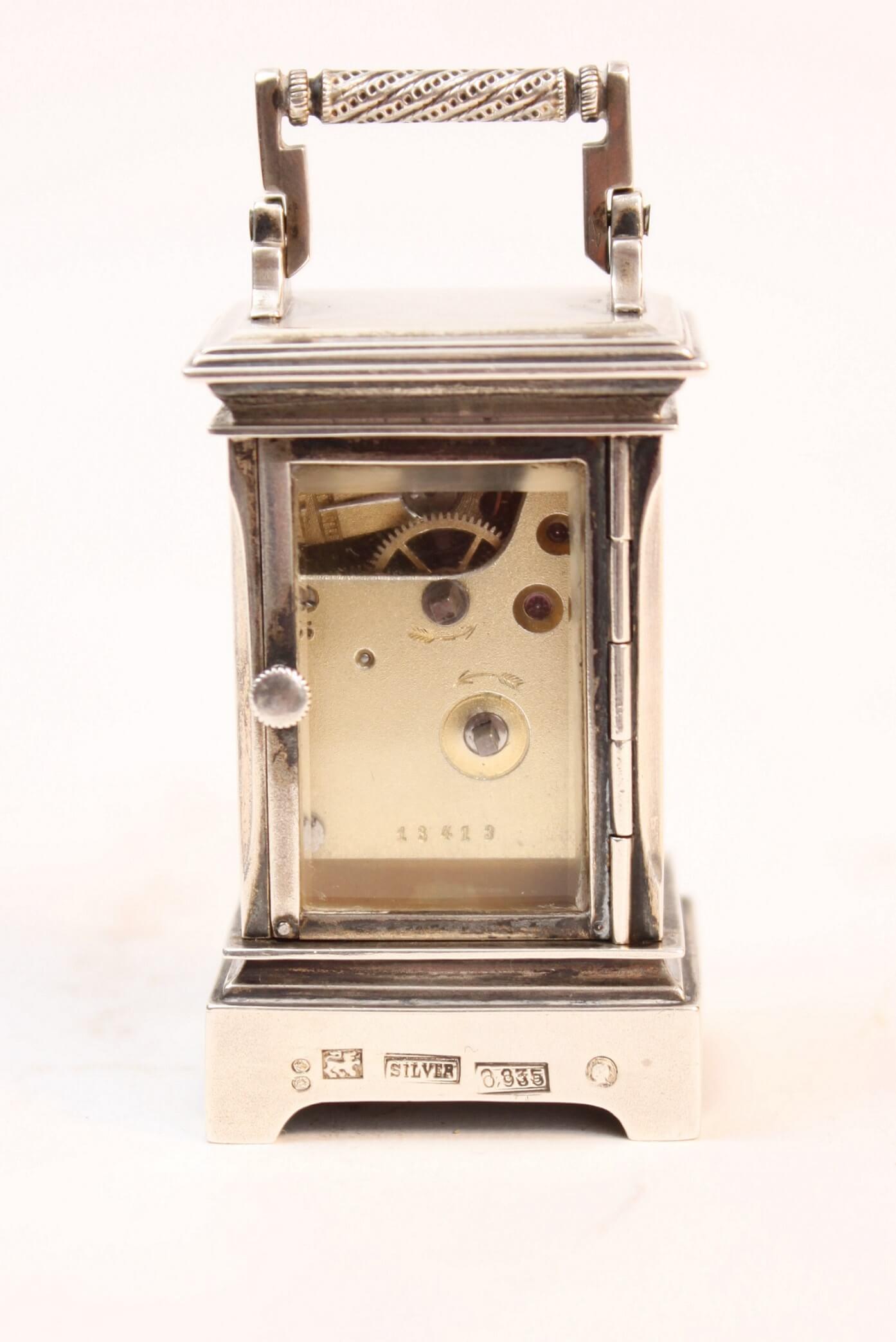miniature-Swiss-silver-guilloche-translucent-enamel-travel-carriage-clock-sub miniature-