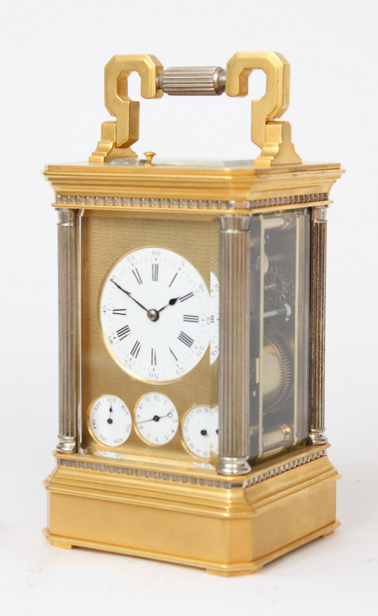 French-gilt-anglaise-silvered-striking-repeating-day-date-alarm-calendar-antique-carriage-clock-