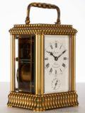 French-gilt-brass-gadrooned-gorge Case-striking-alarm-antique-ravel-carriage-clock-lepine-paris