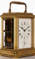 French-gilt-brass-gadrooned-gorge Case-striking-alarm-antique-ravel-carriage-clock-lepine-paris