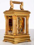 French-miniature-gilt-brass-anglaise-engraved-antique-carriage-clock-lepine-Paris-travel-case