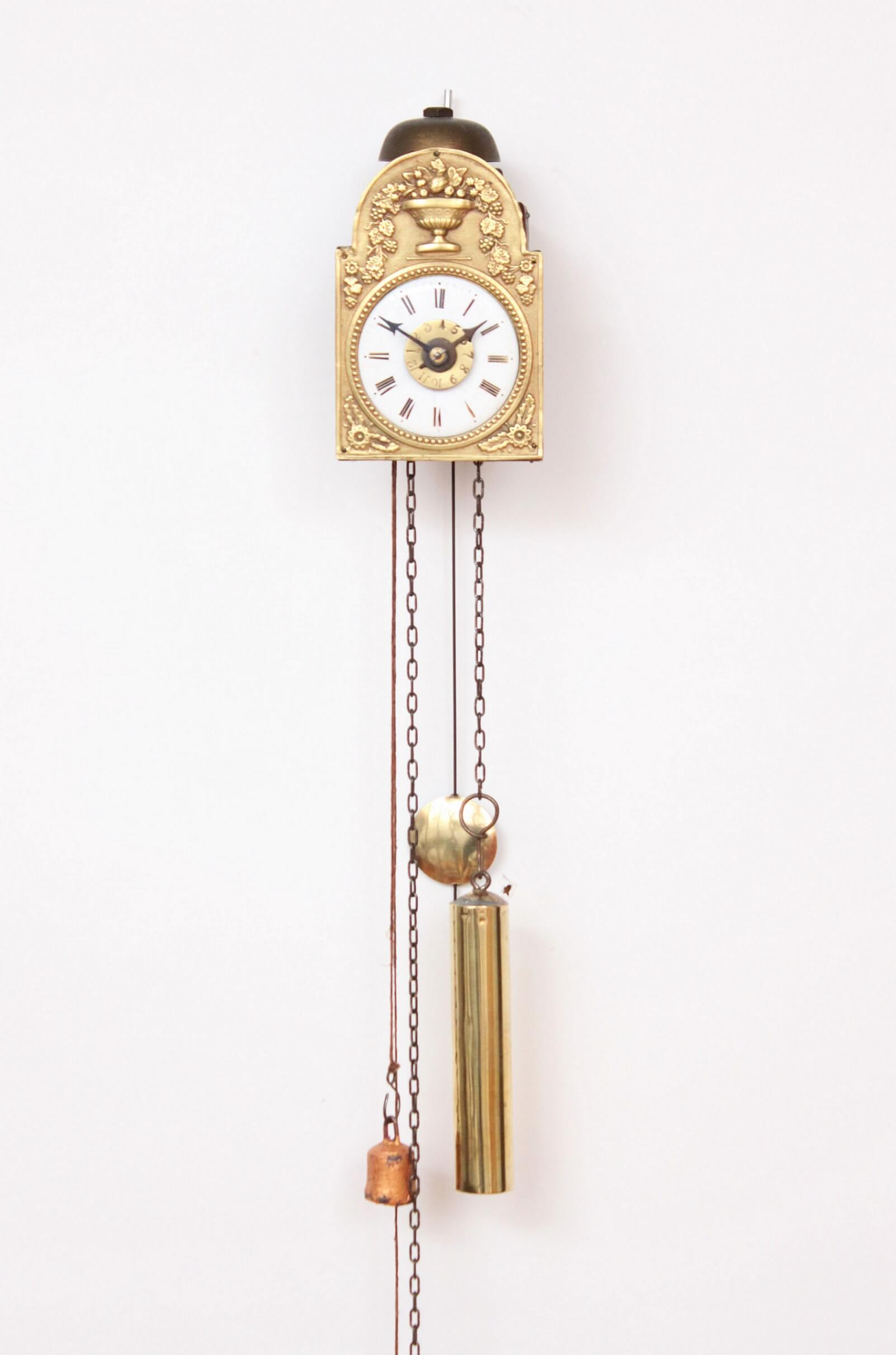 German-black-forest-wood-brass-miniature-Sorg-alarm-wall-antique-clock-