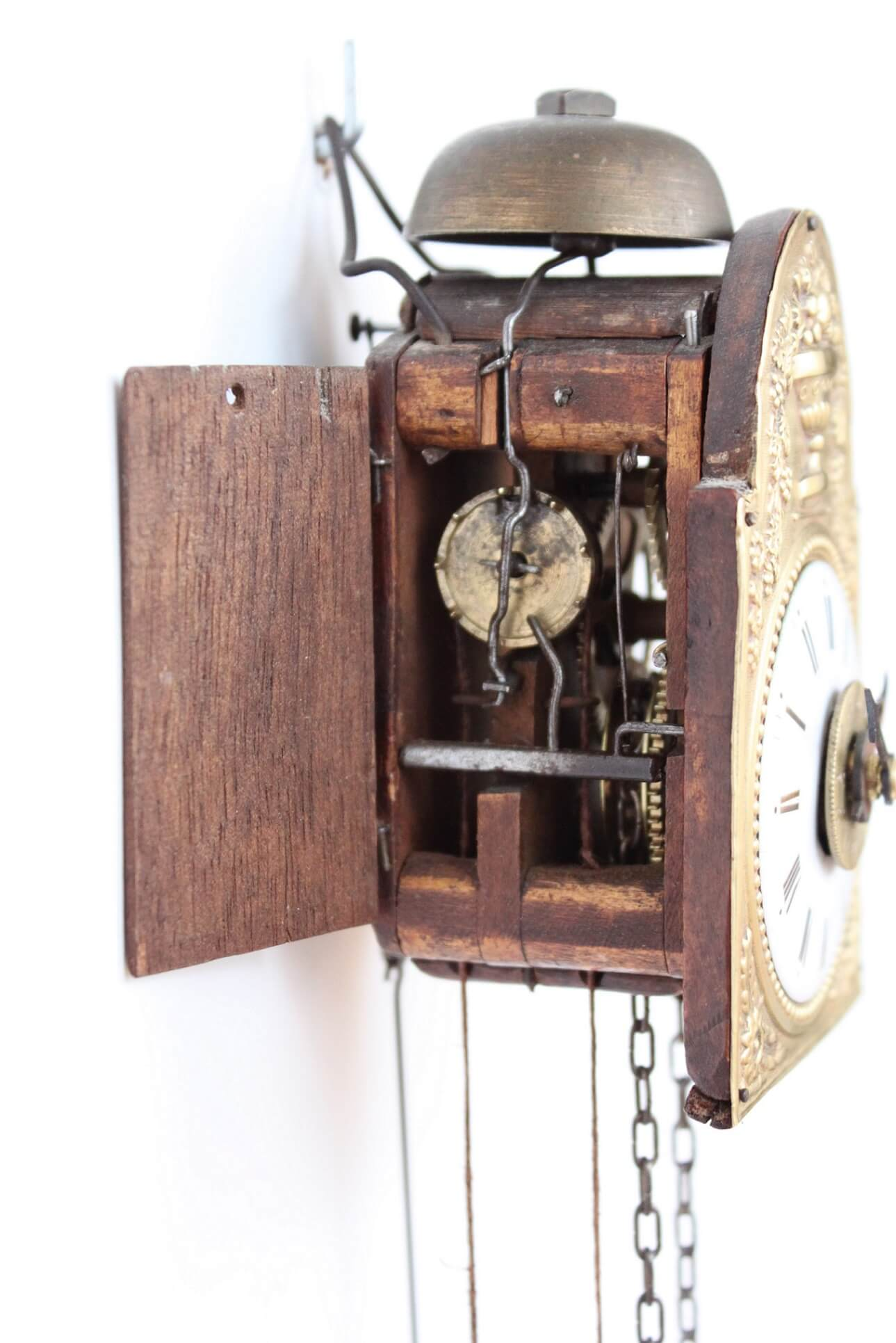 German-black-forest-wood-brass-miniature-Sorg-alarm-wall-antique-clock-