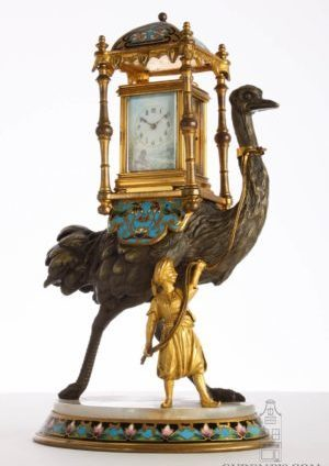 Swiss-French-gilt-porcelain-polychrome-gilt-brass-anglaise-miniature-carriage-clock-austriche-bronze-presentation-stand-
