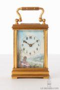 Swiss-French-gilt-porcelain-polychrome-gilt-brass-anglaise-miniature-carriage-clock-ostrich-bronze-presentation-stand-