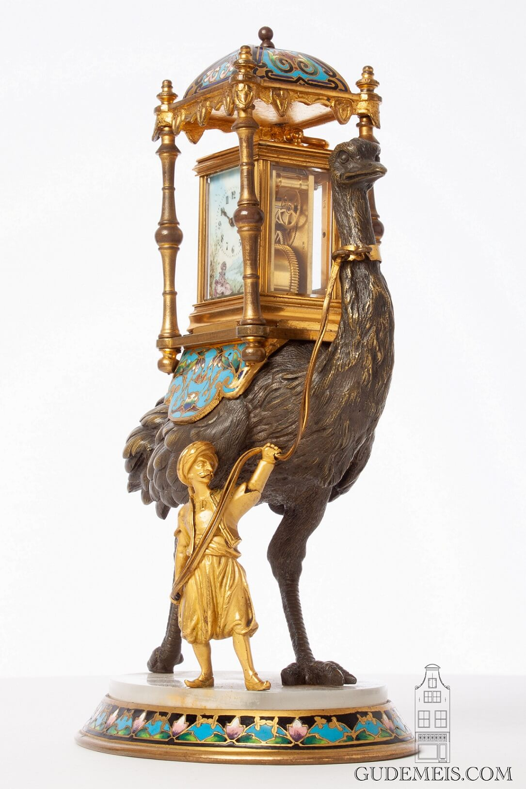 Swiss-French-gilt-porcelain-polychrome-gilt-brass-anglaise-miniature-carriage-clock-ostrich-bronze-presentation-stand-