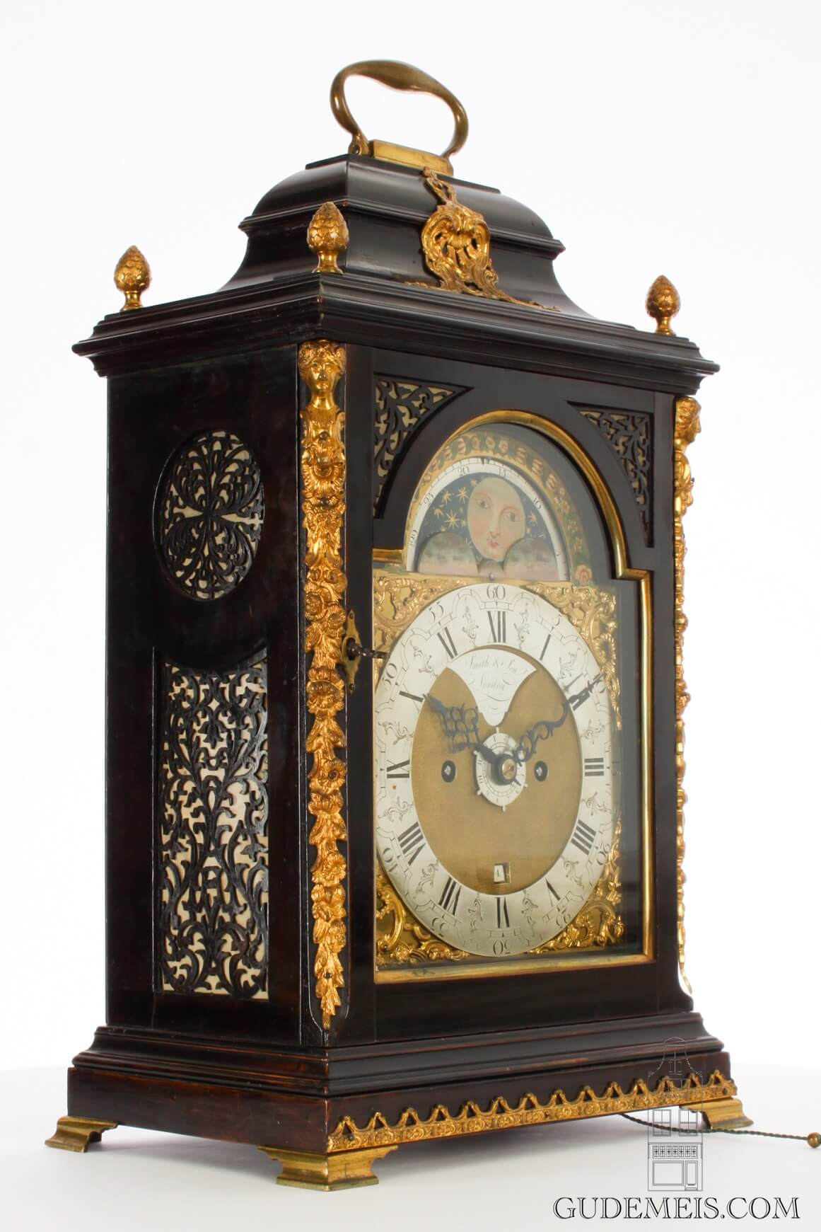 English-ebonized-brass-mounted-Dutch-striking-alarm-moonphase-date-bracket-table-antique-clock-Smith-London-