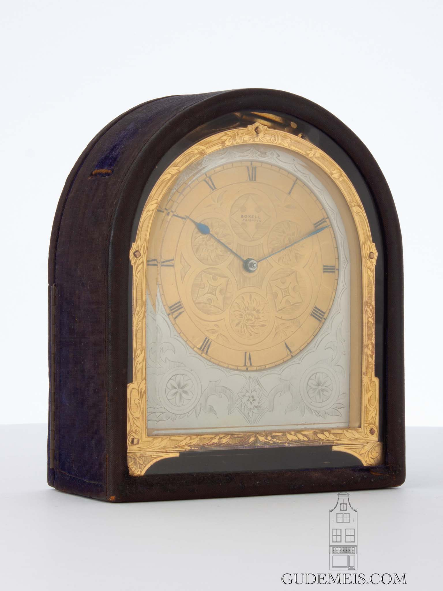 English-gilt-silvered-engraved-antique-carriage-travel-clock-Thomas Boxel-Brighton-1850-