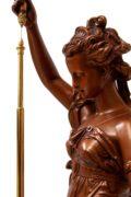 French-Napoleon III-sculptural-bronze-conical-pendulum-antique-clock-Farcot-Laurent-mystery-striking-
