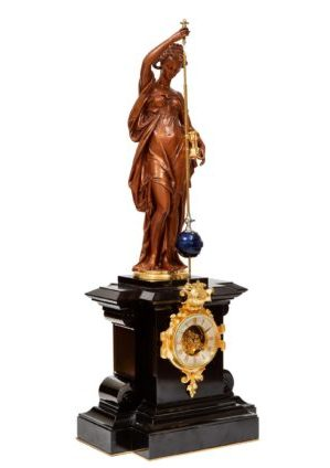 French-Napoleon III-sculptural-bronze-conical-pendulum-antique-clock-Farcot-Laurent-mystery-striking-