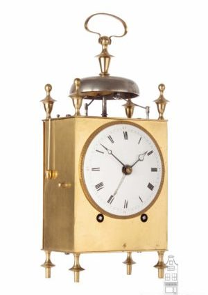 French-Swiss-brass-striking-alarm-repeating-capucine-travel-antique-clock-