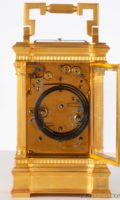 French-gilt-brass-anglaise-case-antique-carriage-clock-striking-date-moonphase-grande-sonnerie-calendar-