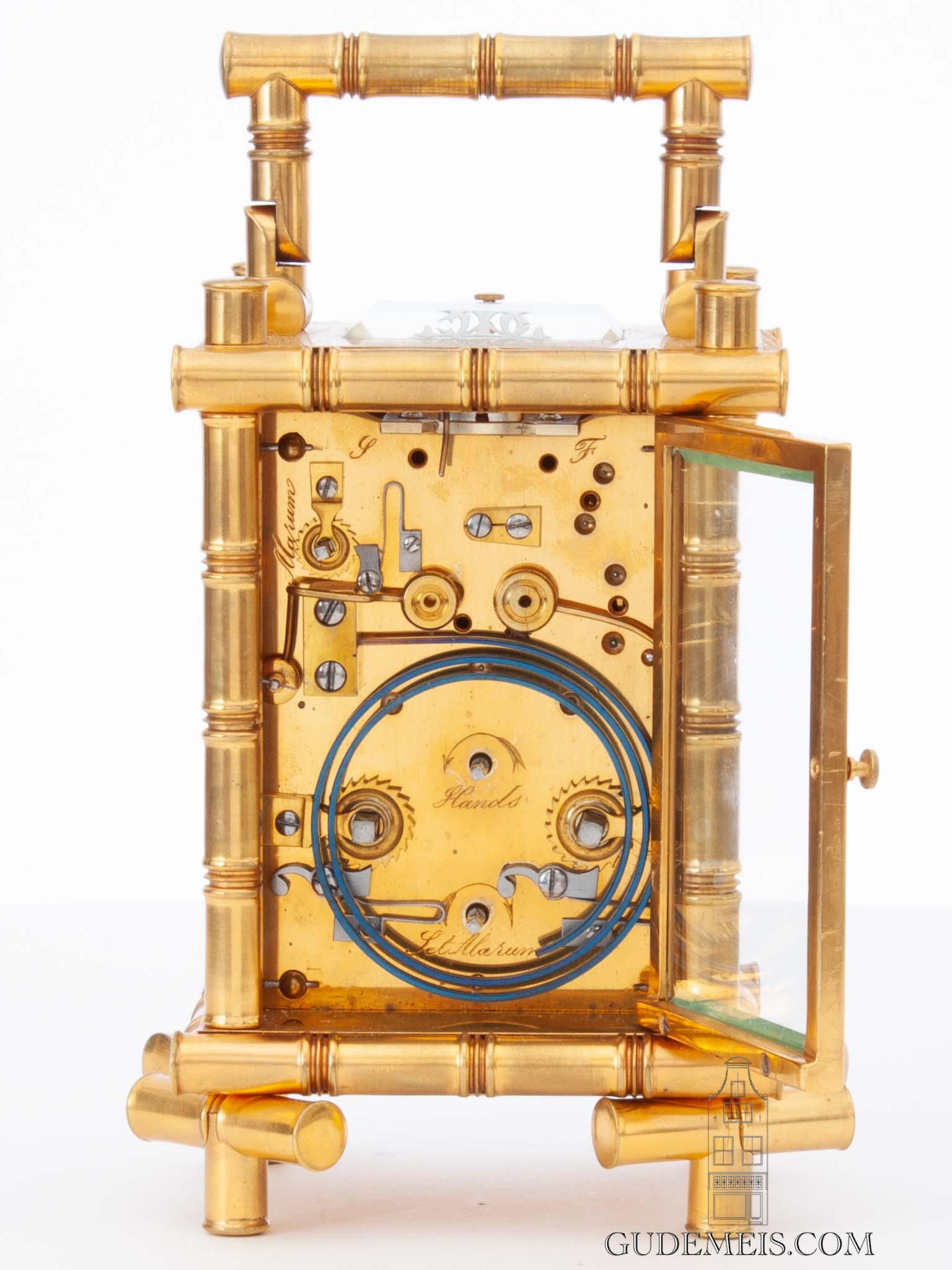 French-paris-gilt-brass-bamboo-case-striking-alarm-oriental-japanned-porcelain-panels-antique-carriage clock-
