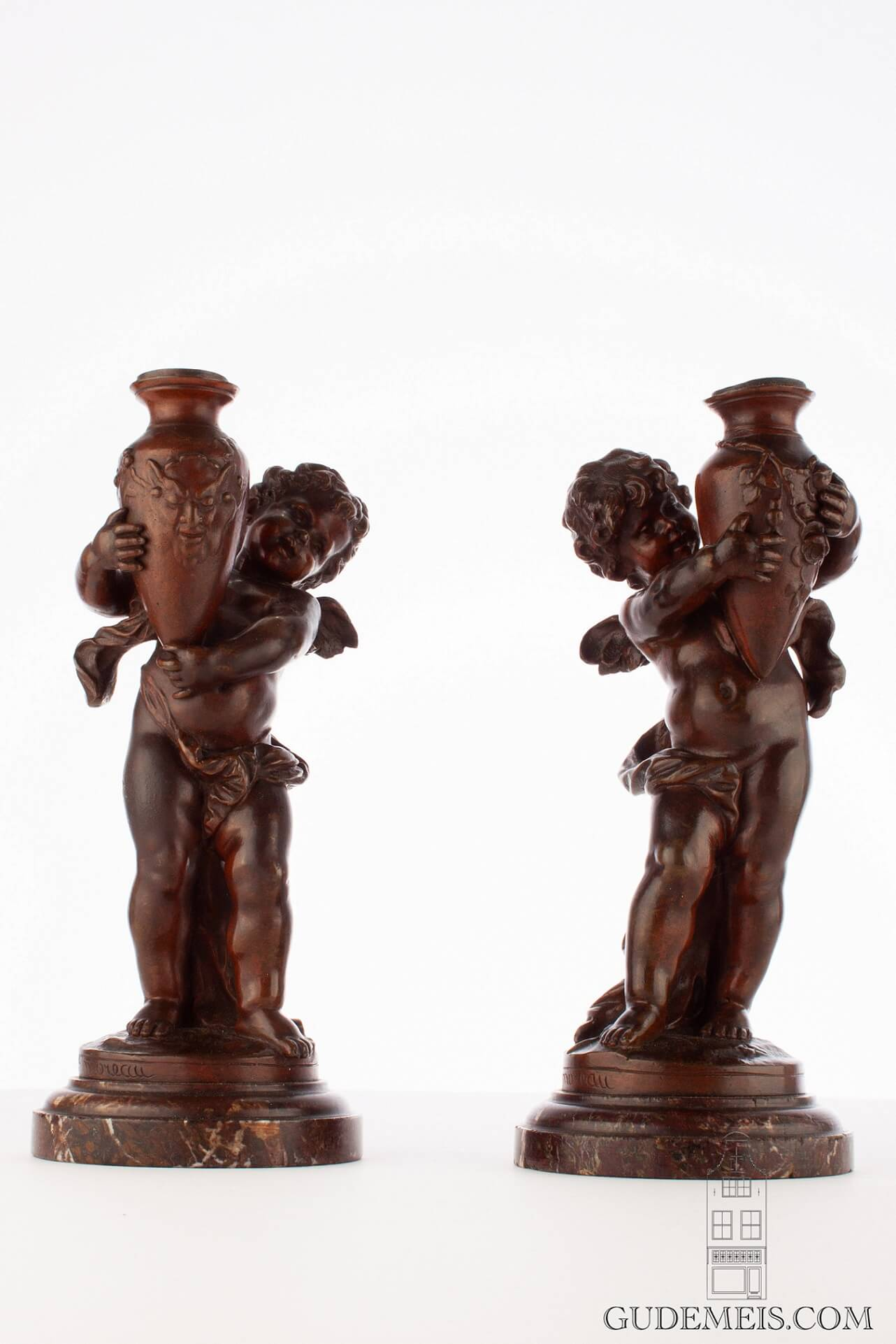 French-sculpture-patinated-bronze-putto-candelabra-marble-napoleon III-moreau