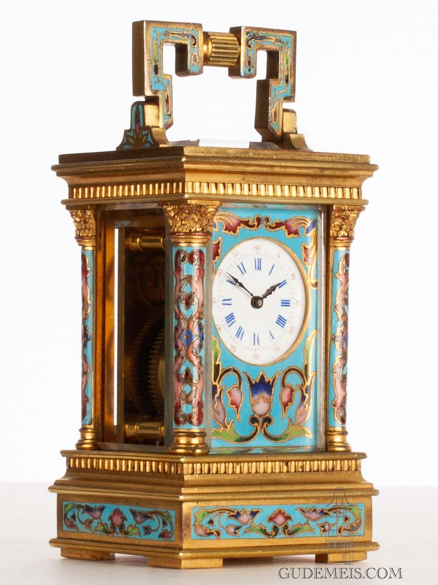 miniature-French-gilt-brass-anglaise-case-cloisonne-enamel-antique-travel-carriage-clock-