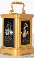 Miniature-antique-carriage-clock-H. Bosi-Firenze-French-pietra-dura-gold-plated-bronze-ormolu-floral-motifs-