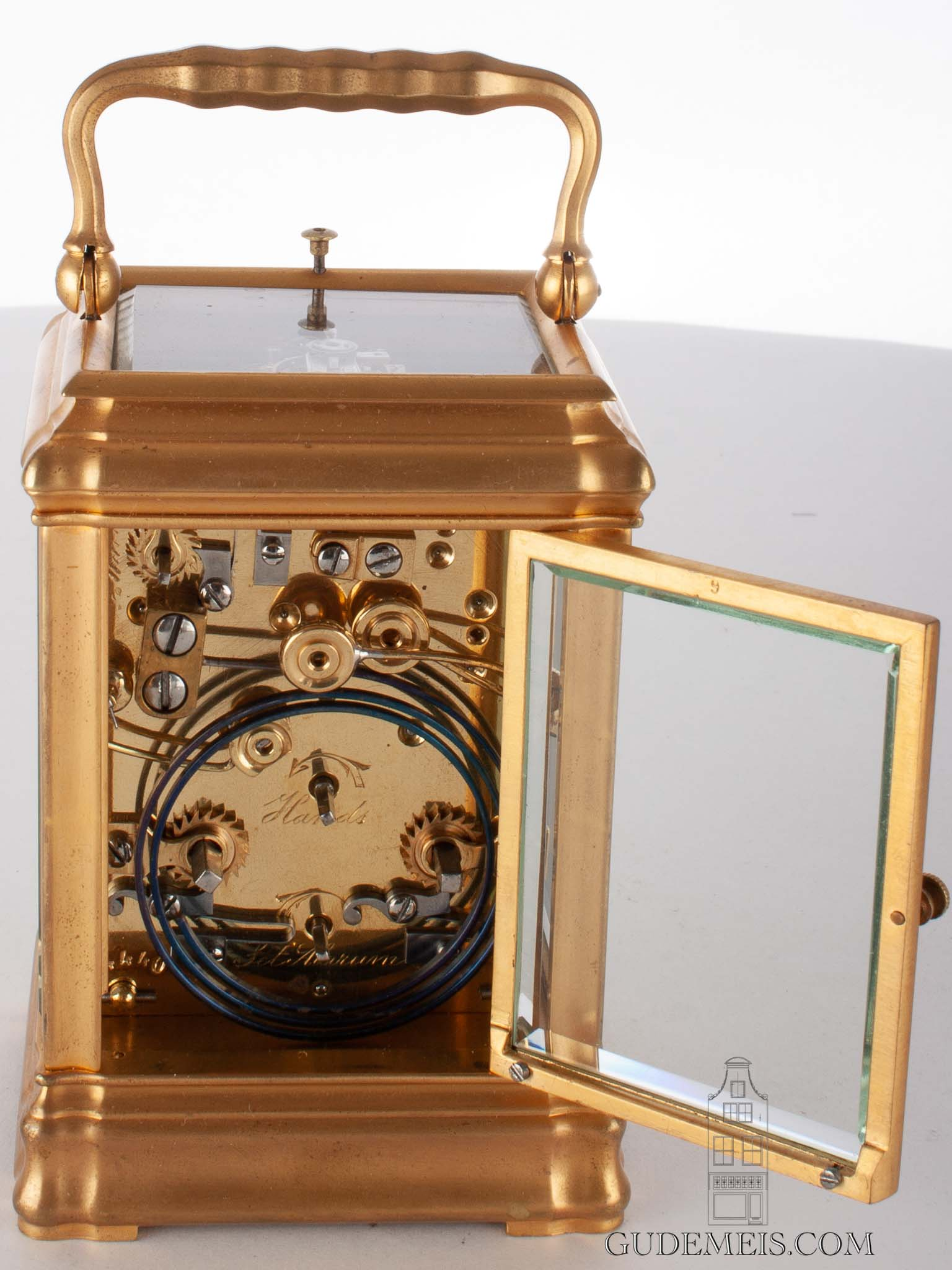 small-French-gilt-brass-gorge-case-carriage-antique-travel-clock-striking-ship's-hours-Le Roy-paris