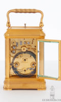 Small-French-gilt-brass-gorge-case-carriage-antique-travel-clock-striking-ship's-hours-Le Roy-