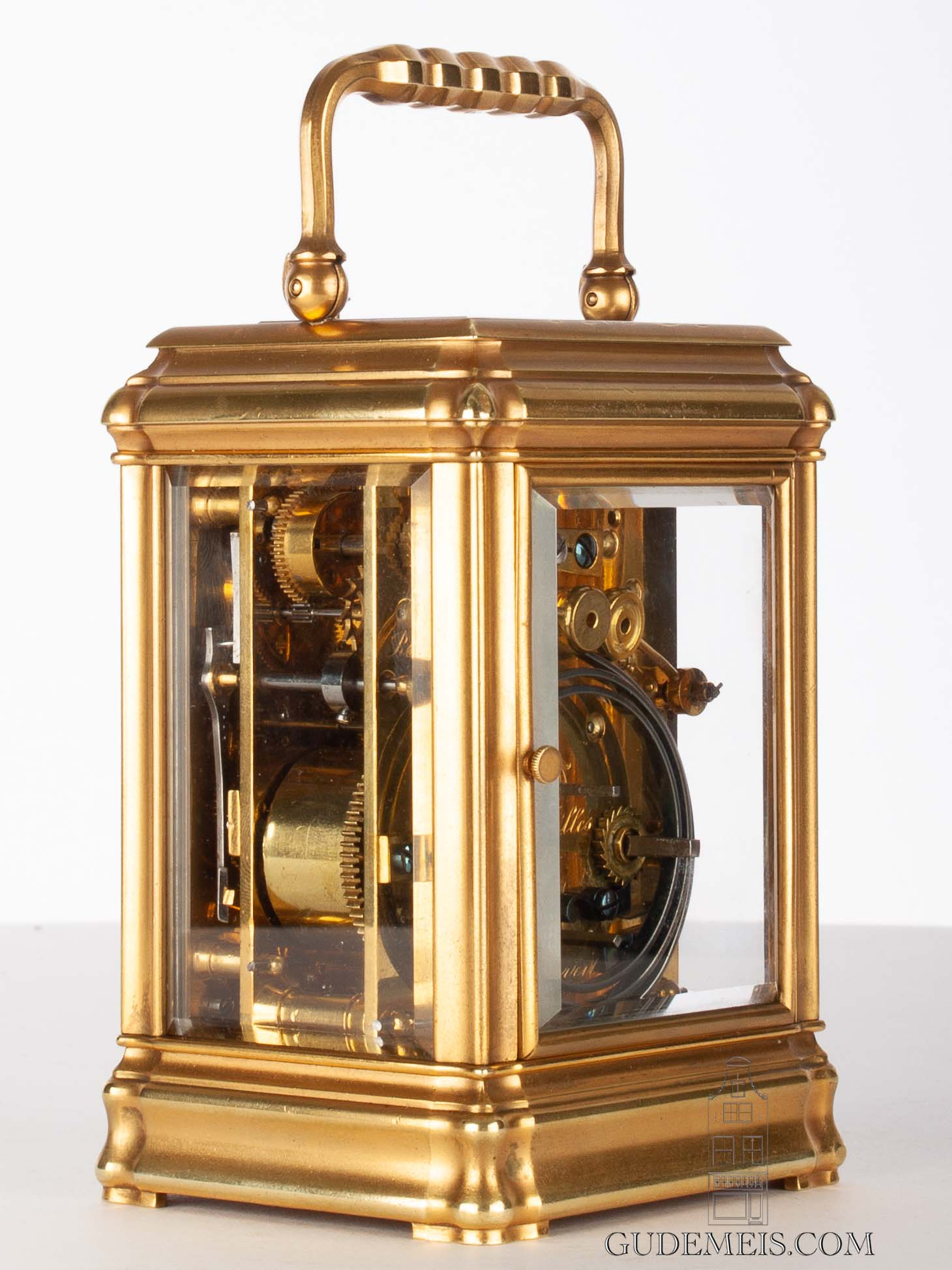 French-gilt-brass-gorge-case-striking-repeating-alarm-margaine-antique-carriage-clock-