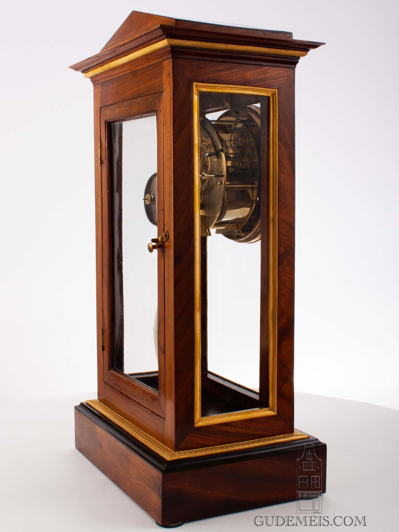 French-Empire-ormolu-gilt-bronze-mahogany-architectural-precision-table-regulator-antique-clock
