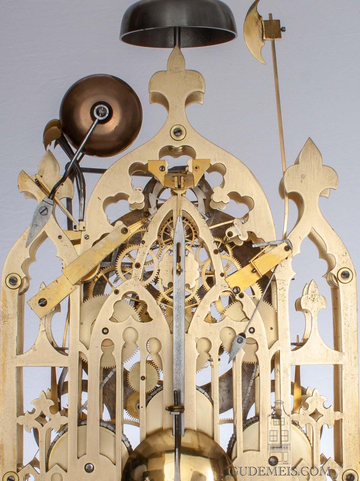 large-English-neo-gothic-brass-skeleton-quarter-chime-calendar-antique-clock-Cox-Islington-Victorian-