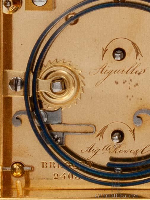 French gilt brass anglaise striking alarm musical antique travel carriage clock Breguet Paris-