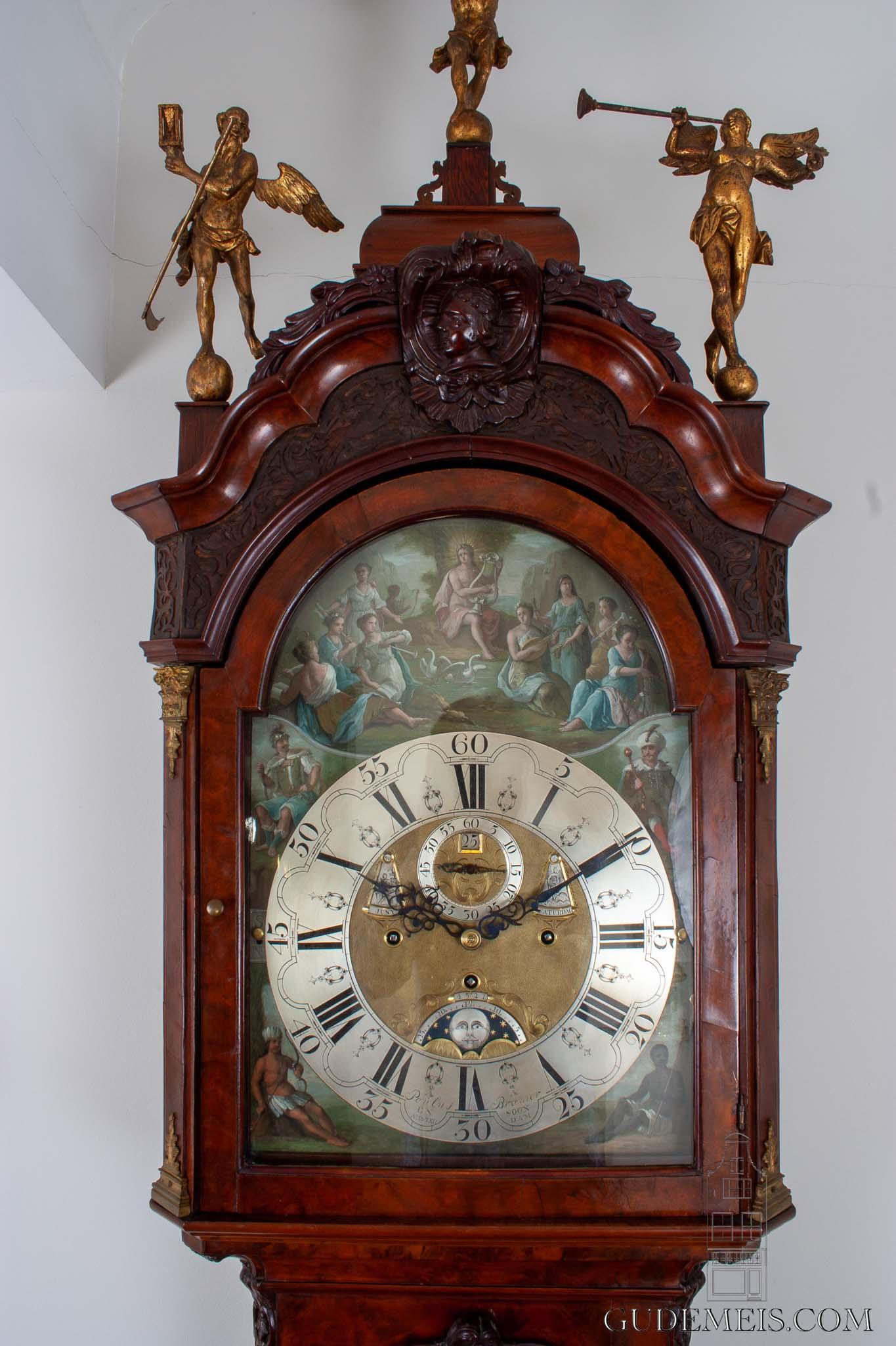 Dutch-Amsterdam-burr-walnut-Louis XV-painted-dial-musical-mechanism-Dutch-striking-full-calendar-moonphase-antique-longcase-clock