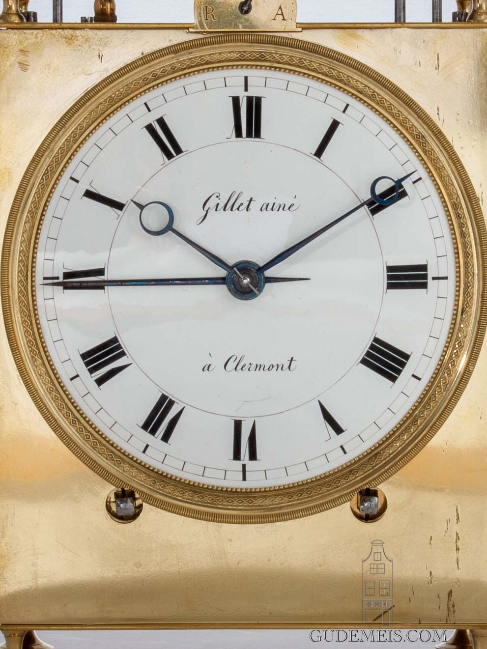 large-French-brass-oversized-quarter-striking-alarm-two-bells-gillet-aine-Clermont-antique-travel-clock-