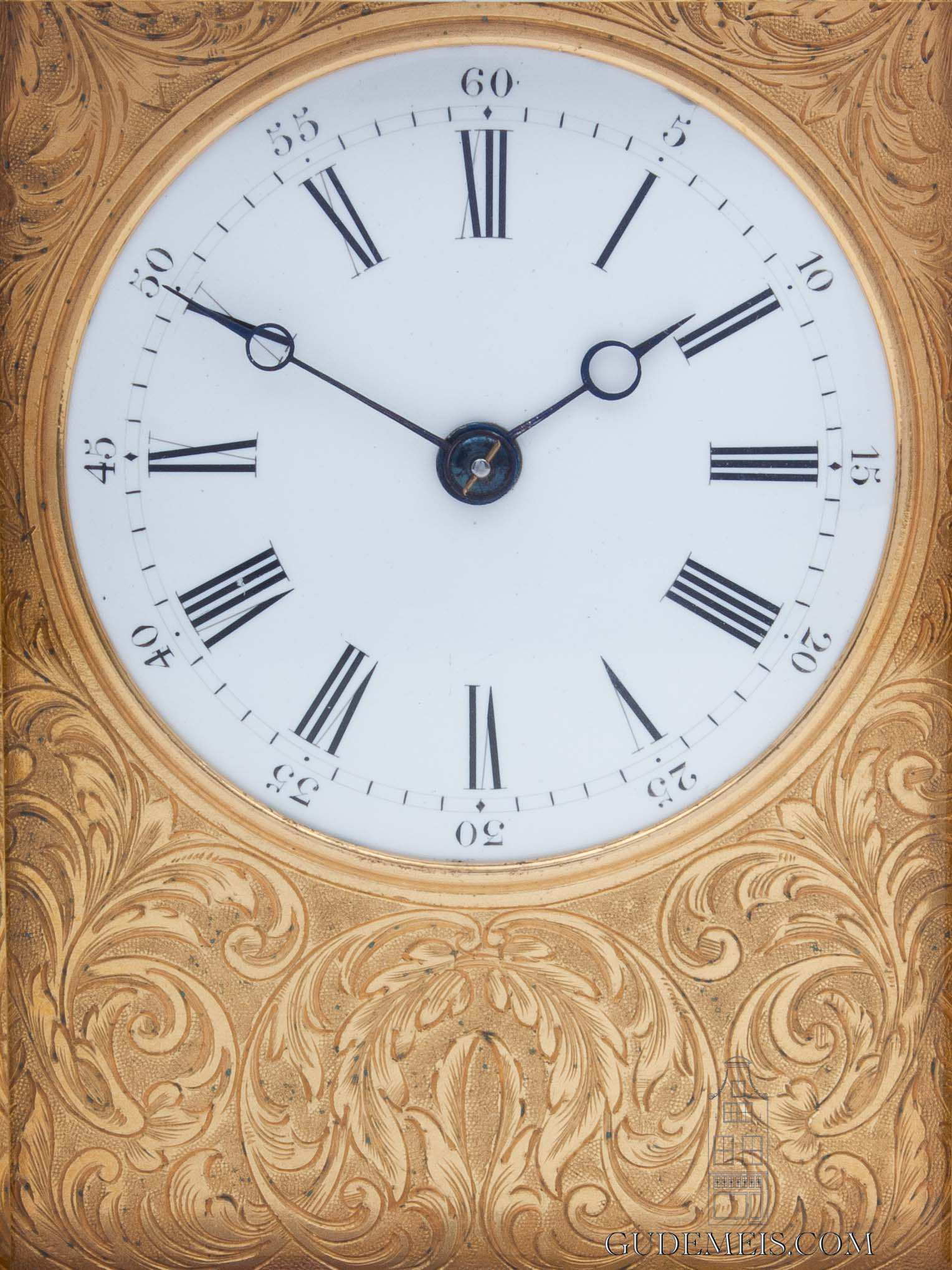 French-gilt-brass-gorge-case-striking-repeating-carriage-antique-travel-clock-engraved-paris