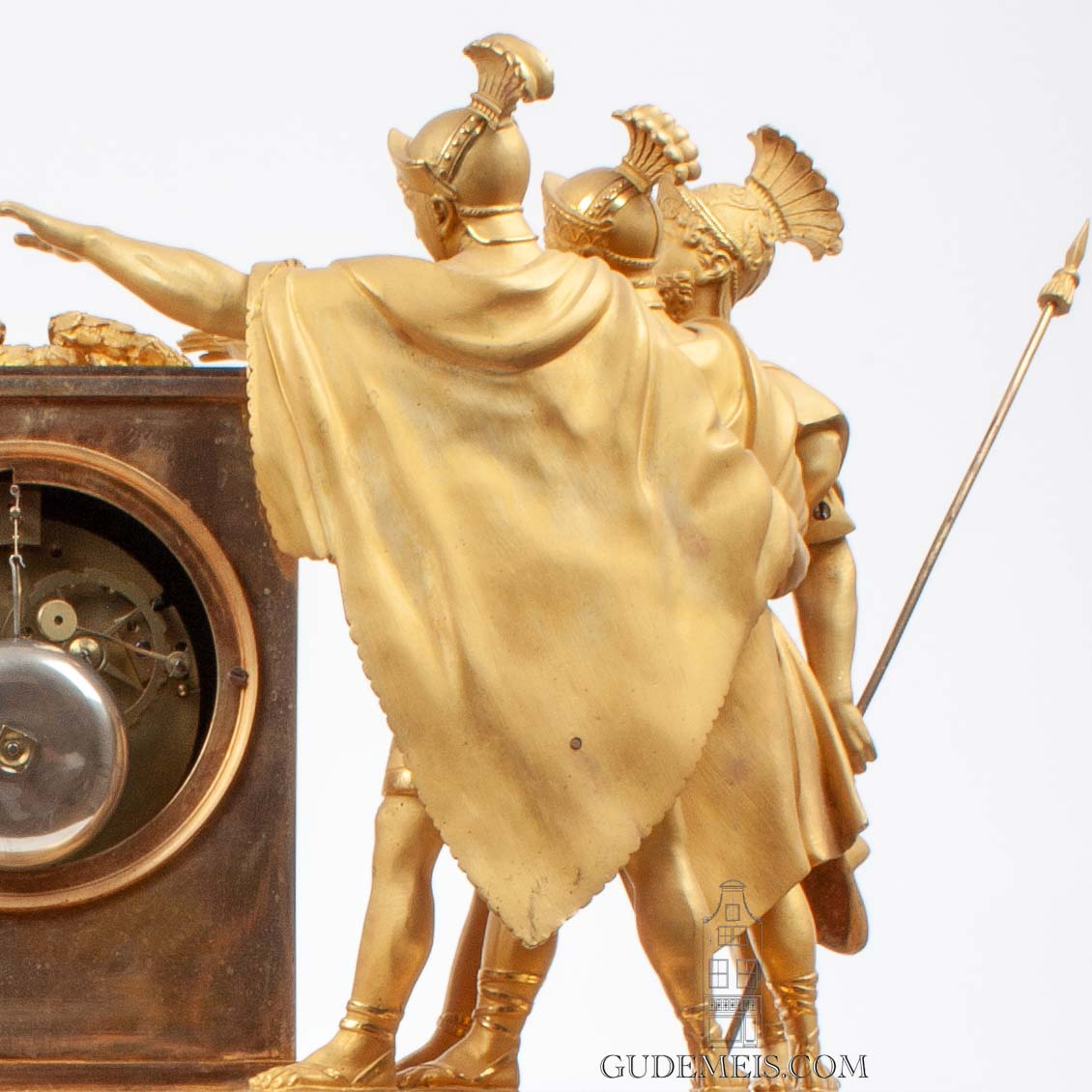 Oath-of-the-horatii-French-Empire-sculptural-gilt-bronze-striking-antique-clock-Jacques-Louis-David
